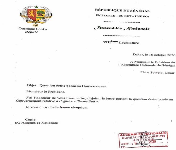 Affaire Terme Sud et cession des immeubles de l'Etat: Ousmane Sonko « convoque » le gouvernement à l'Assemblée nationale
