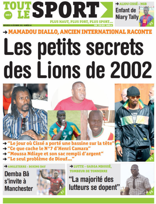 A la Une du Journal Tout Le Sport du mercredi 26 décembre 2012
