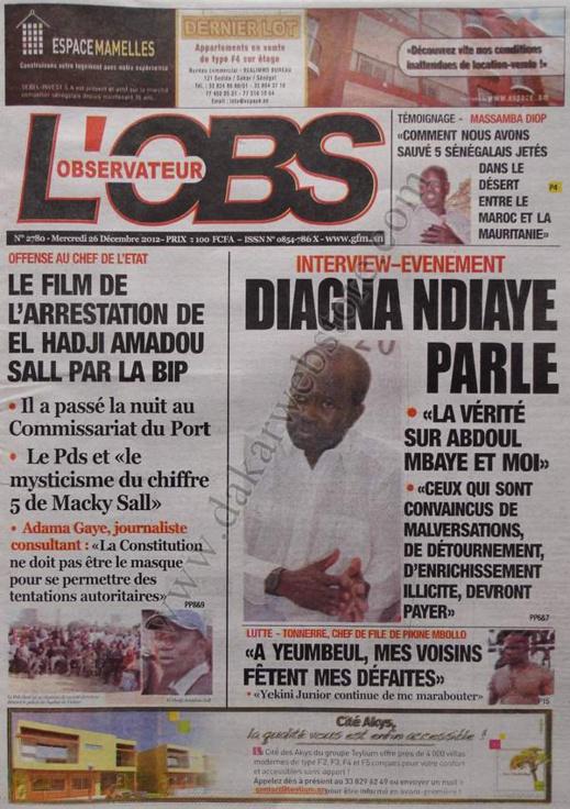 A la Une du Journal L'Observateur du mercredi 26 décembre 2012