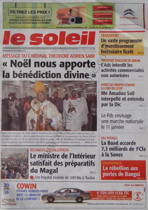 A la Une du Journal Le Soleil du mercredi 26 décembre 2012