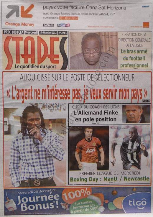A la Une du Journal Stades du mercredi 26 décembre 2012