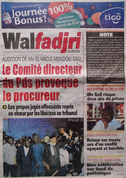 A la Une du Journal Walfadjri du mercredi 26 décembre 2012