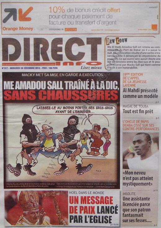 A la Une du Journal Direct Info du mercredi 26 décembre 2012