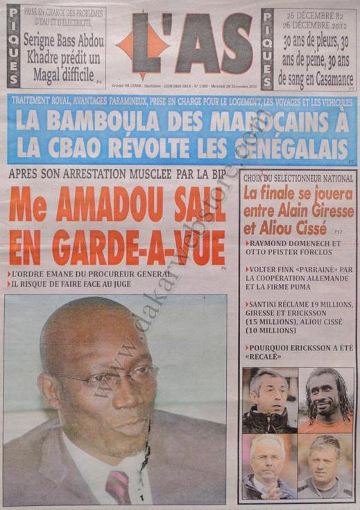 A la Une du Journal L'As du mercredi 26 décembre 2012