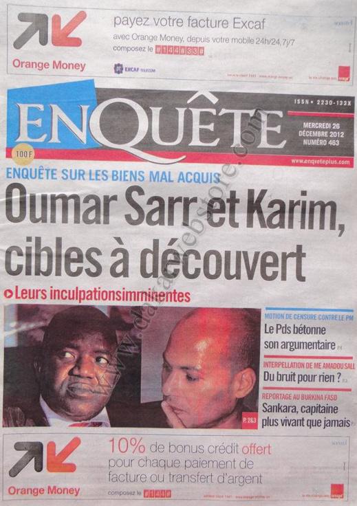 A la Une du Journal Enquête du mercredi 26 décembre 2012