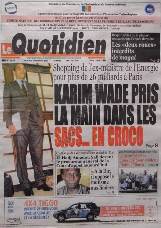 A la Une du Journal Le Quotidien du mercredi 26 décembre 2012