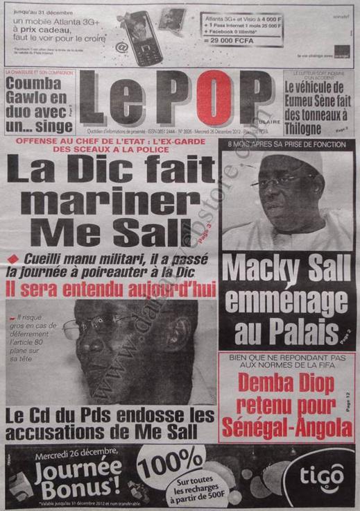 A la Une du Journal Le Populaire du mercredi 26 décembre 2012