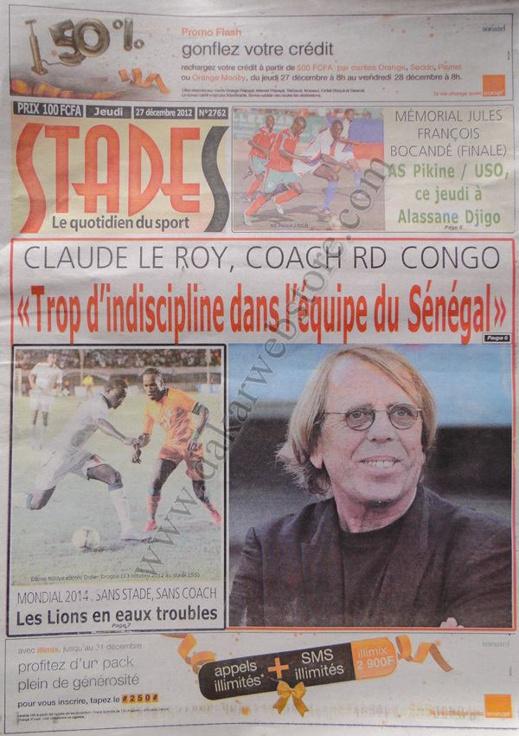 A la Une du Journal Stades du jeudi 27 décembre 2012