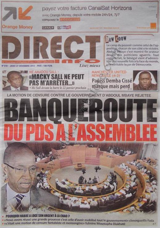 A la Une du Journal Direct Info du jeudi 27 décembre 2012