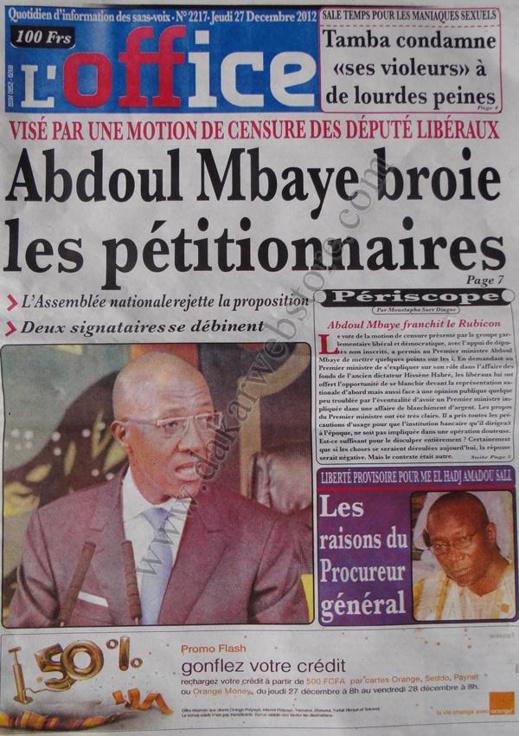 A la Une du Journal L'Office du jeudi 27 décembre 2012