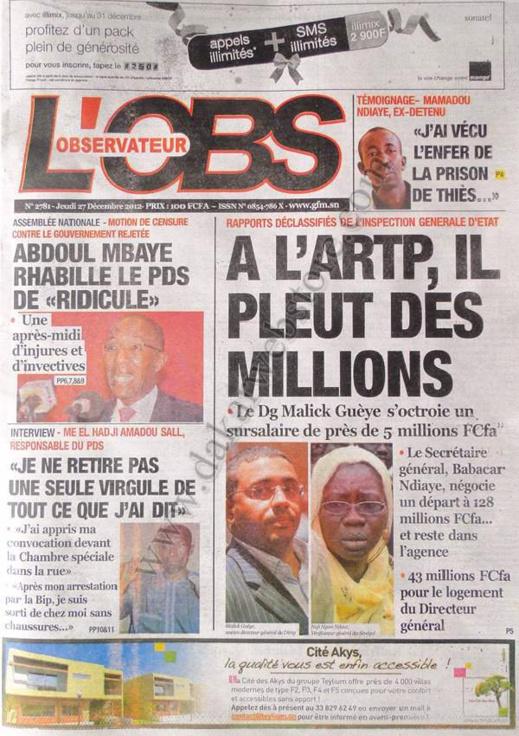 A la Une du Journal L'Observateur du jeudi 27 décembre 2012
