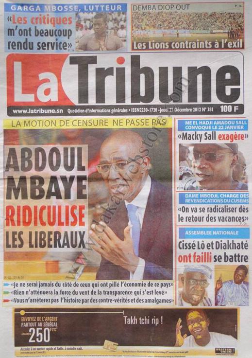 A la Une du Journal La Tribune du jeudi 27 décembre 2012