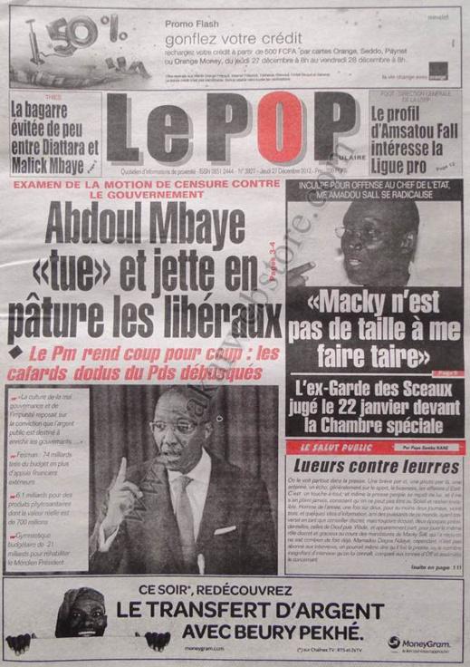 A la Une du Journal Le Populaire du jeudi 27 décembre 2012