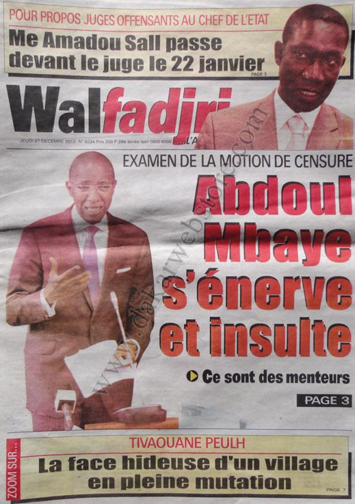 A la Une du Journal Walfadjri du jeudi 27 décembre 2012