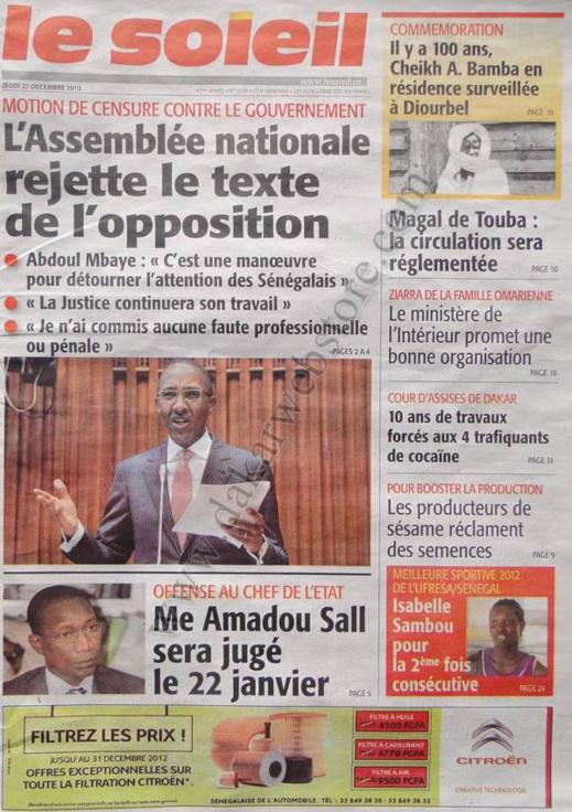 A la Une du Journal Le Soleil du jeudi 27 décembre 2012