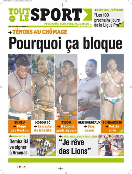 A la Une du Journal Tout Le Sport du jeudi 27 décembre 2012