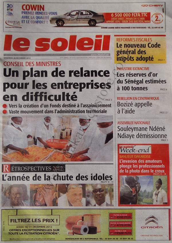 A la Une du Journal Le Soleil du vendredi 28 décembre 2012