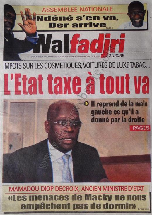 A la Une du Journal Walfadjri du vendredi 28 décembre 2012
