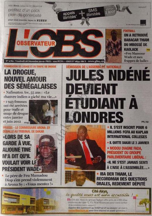 A la Une du Journal L'Observateur du vendredi 28 décembre 2012