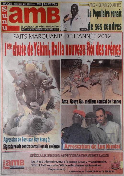 A la Une du Journal Sunu Lamb du vendredi 28 décembre 2012