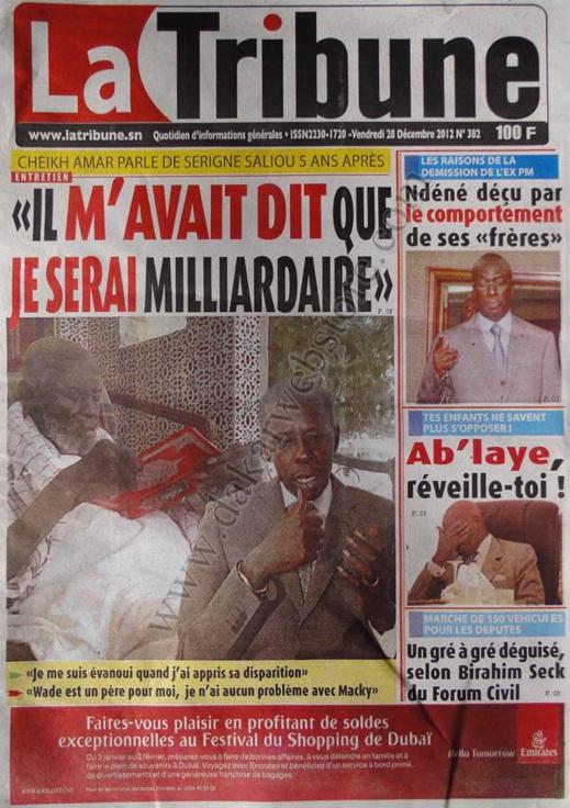 A la Une du Journal La Tribune du vendredi 28 décembre 2012