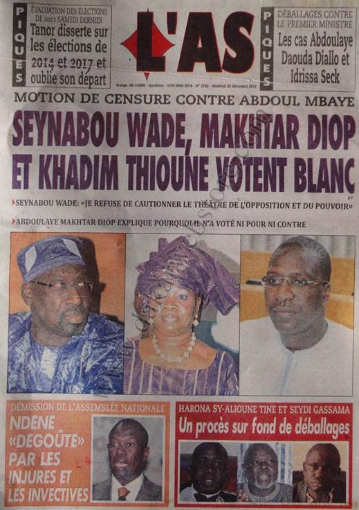 A la Une du Journal L'As du vendredi 28 décembre 2012