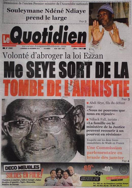 A la Une du Journal Le Quotidien du vendredi 28 décembre 2012