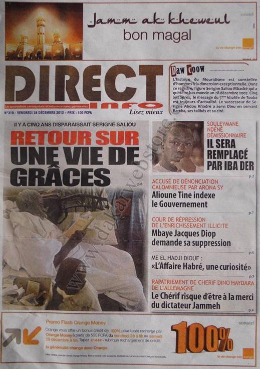 A la Une du Journal Direct Info du vendredi 28 décembre 2012