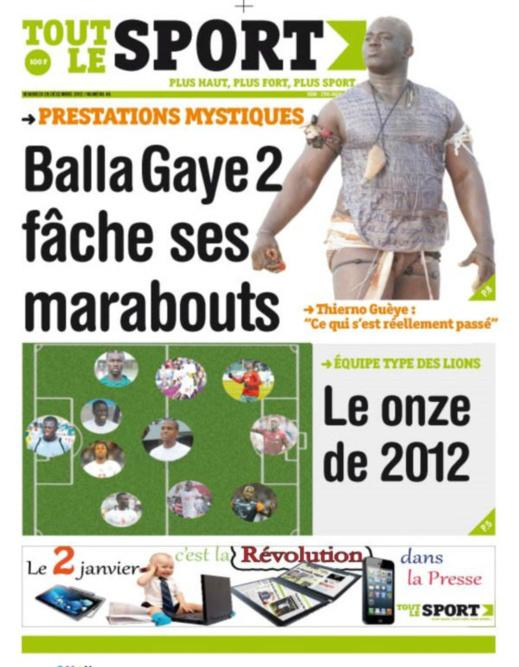 A la Une du Journal Tout Le Sport du vendredi 28 décembre 2012