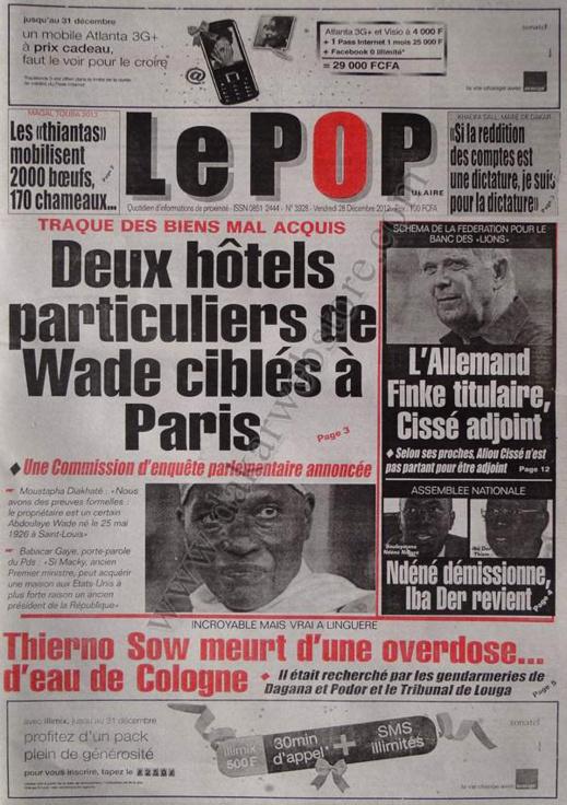 A la Une du Journal Le Populaire du vendredi 28 décembre 2012