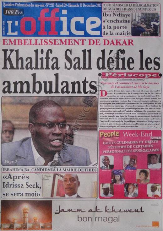 A la Une du Journal L'Office du Samedi 29 décembre 2012