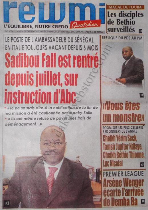 A la Une du Journal Rewmi du Samedi 29 décembre 2012