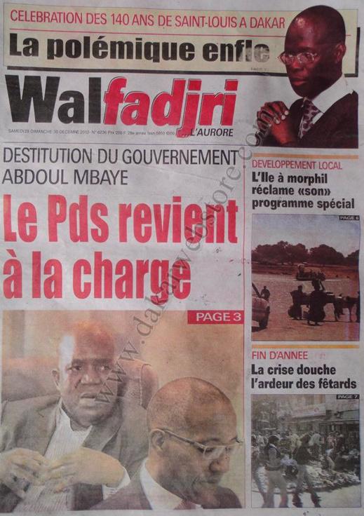 A la Une du Journal Walfadjri du Samedi 29 décembre 2012