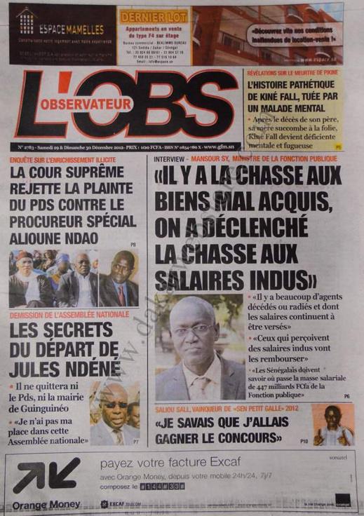 A la Une du Journal L'Observateur du Samedi 29 décembre 2012