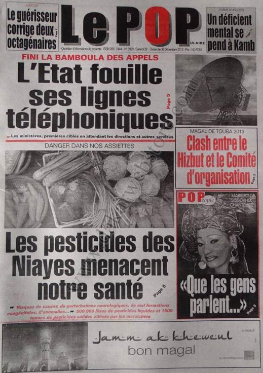 A la Une du Journal Le Populaire du Samedi 29 décembre 2012
