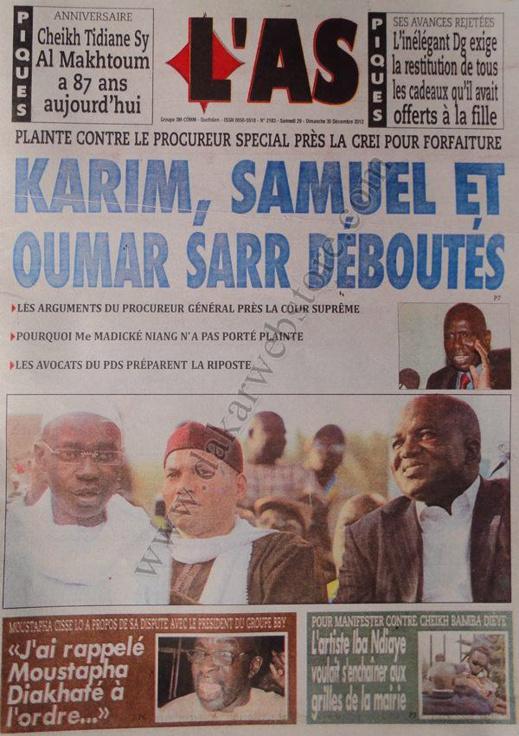 A la Une du Journal L'As du Samedi 29 décembre 2012