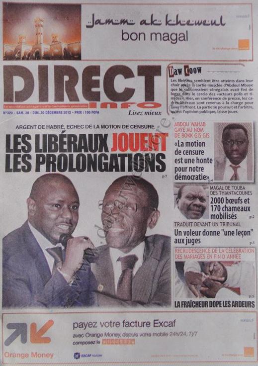 A la Une du Journal Direct Info du Samedi 29 décembre 2012