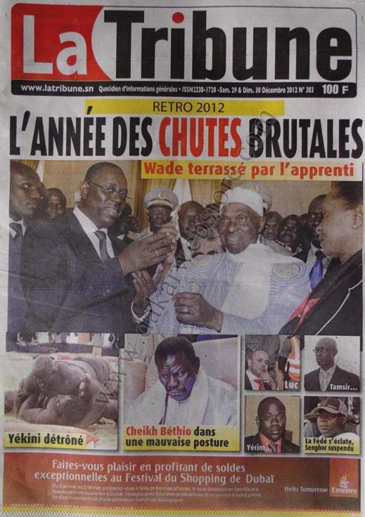 A la Une du Journal La Tribune du Samedi 29 décembre 2012