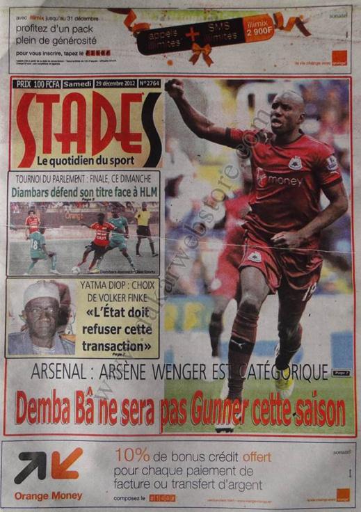A la Une du Journal Stades du Samedi 29 décembre 2012