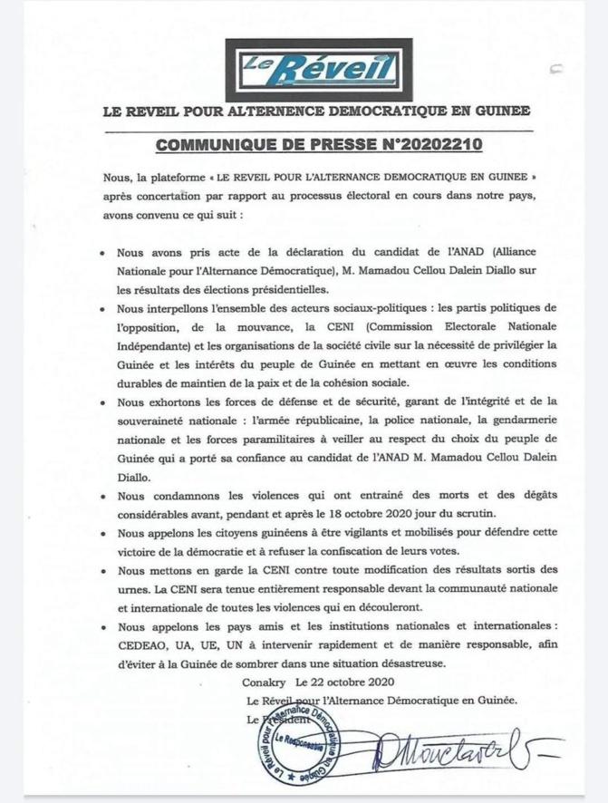 Guinée Présidentielle: le camp de Cellou Dalein Diallo met en garde la CENI et avertit...(Document)