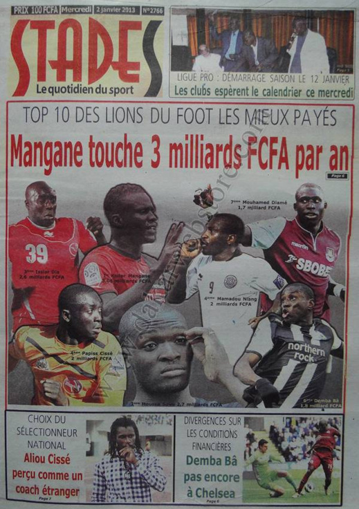 A la Une du Journal Stades du mercredi 02 Janvier 2012