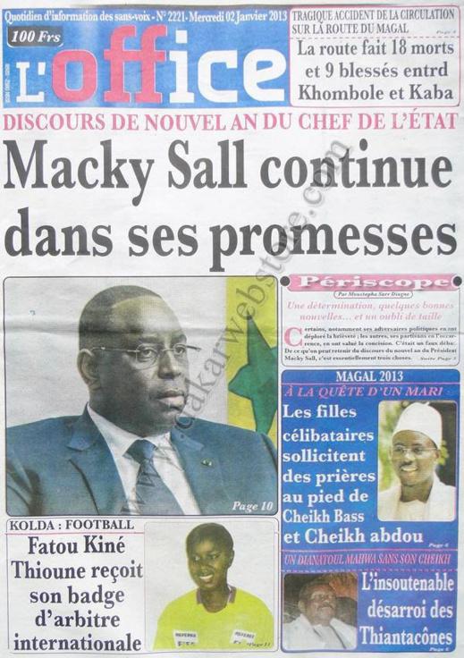 A la Une du Journal L'Office du mercredi 02 Janvier 2012