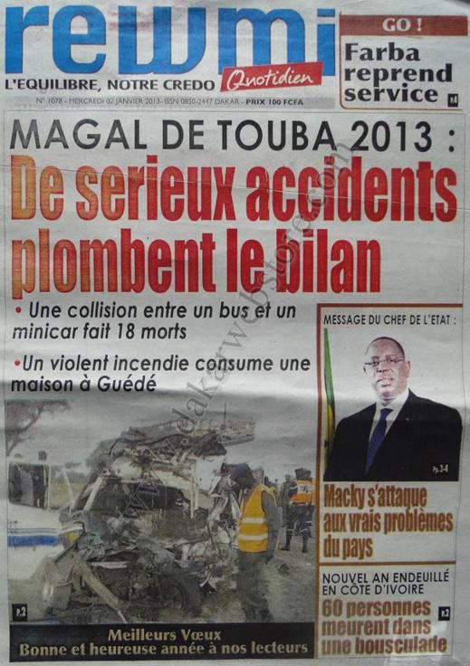 A la Une du Journal Rewmi du mercredi 02 Janvier 2012