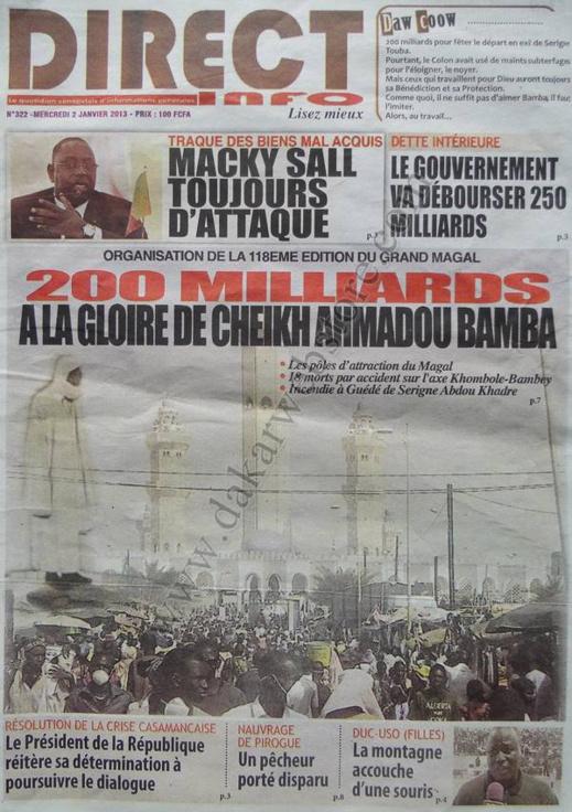 A la Une du Journal Direct Info du mercredi 02 Janvier 2012