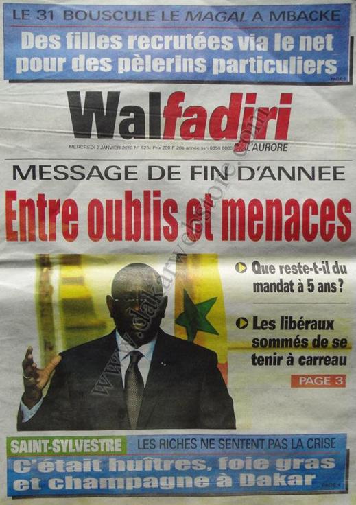 A la Une du Journal Walfadjri du mercredi 02 Janvier 2012