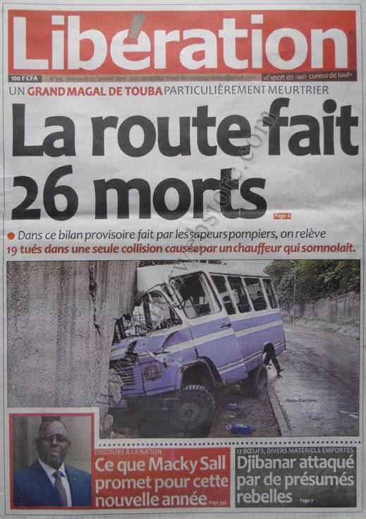 A la Une du Journal Libération du mercredi 02 Janvier 2012