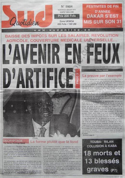 A la Une du Journal Sud Quotidien du mercredi 02 Janvier 2012