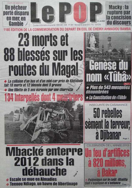 A la Une du Journal Le Populaire du mercredi 02 Janvier 2012