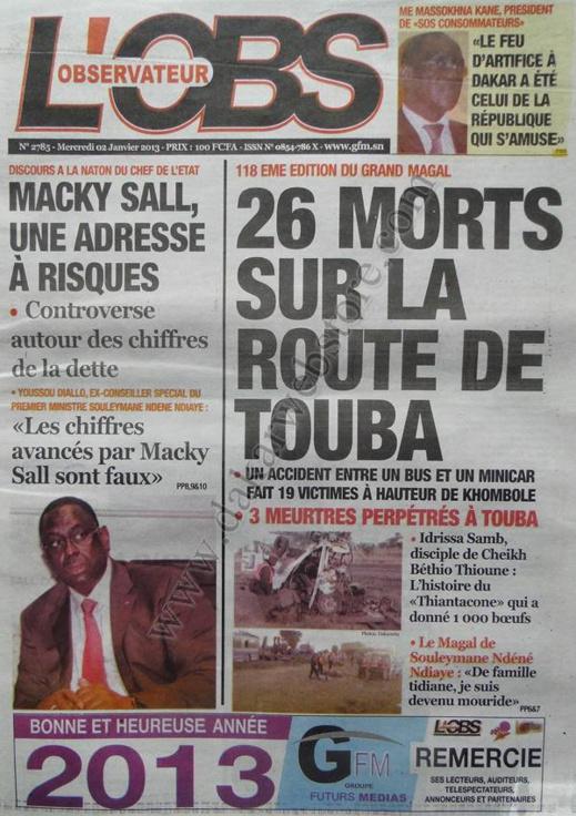 A la Une du Journal L'Observateur du mercredi 02 Janvier 2012
