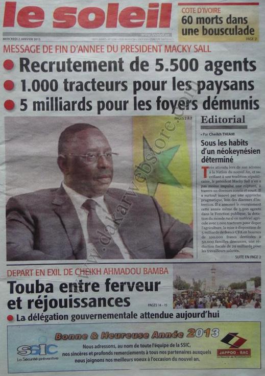 A la Une du Journal Le Soleil du mercredi 02 Janvier 2012